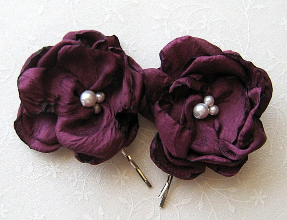 Wedding Hair Pins - Plum Flowers for a Bride Bridesmaid Flower Girls, Event or Photo Prop