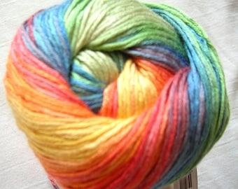Alize Bamboo Fine Yarn, Hypoallergenic Yarn, Batik Design. Fire Rainbow orange green blue yellow (3259) Eq