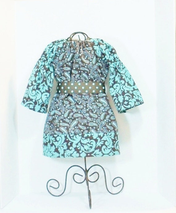 BOUTIQUE PEASANT DRESS Girls Size 18 Months Ready to Ship Turquoise and Brown Damask
