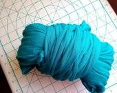 Big Teal Stretchy Machine Cut Jersey Fabric Yarn