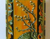 vintage tin box with Asian Bonsai Tree Design by Fricke and Nacke West Germany