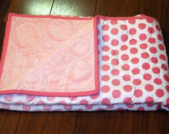 "Sale Pink Ombre Dots Blanket with Baby Pink Snuggle--Toddler or Baby 40"" x 48"""