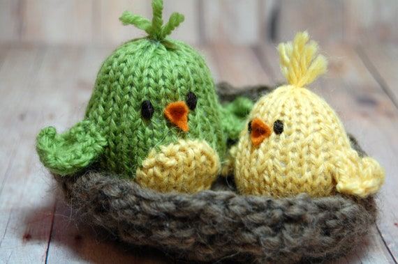 Birds in Nest, Bird Toy, Toy Birds, Spring Chicks, Knit Birds, Waldorf Birds, Spring Celebration, Bird Nursery, Easter Basket Toys, Plush