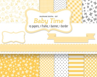Baby digital paper backgrounds, baby shower yellow background, yellow and grey printable baby paper - INSTANT DOWNLOAD Pack 367