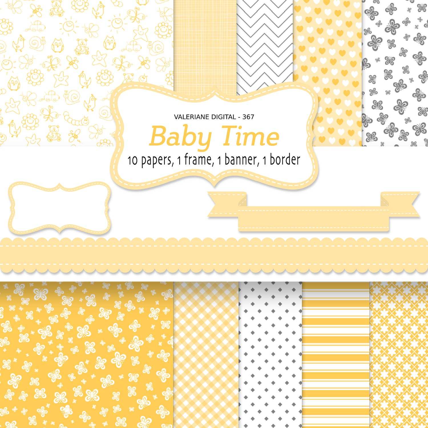 Baby digital paper backgrounds baby shower yellow background