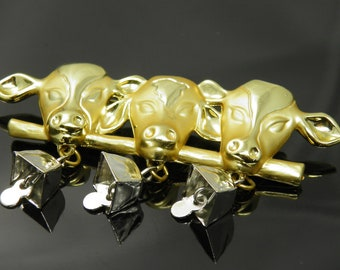 Vintage AJC Three Cows With Bells Lined Up In A Row Brooch Pin