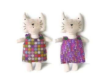 Kitten Softie Cat Doll Orange Purple Yellow Green Blue Red Pink White Dots and Flowers With Reversible Dress Cat Lovers Gift Makeforgood