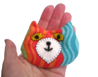 Cat Head Rice Heat Cold Pack Microwavable for Hand Pocket Boo Boos Ouchies Lime Green Orange Red Blue Makeforgood