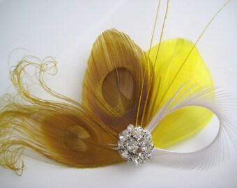 Wedding Bridal White Mustard Yellow Peacock Feather Rhinestone Jewel Head Piece Hair Clip Fascinator
