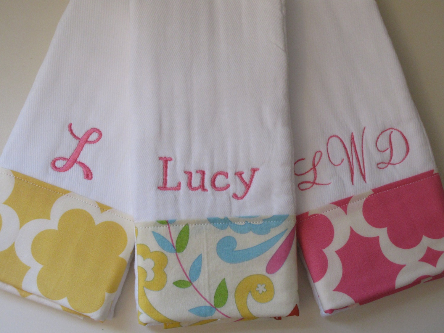 Personalized Monogrammed Burp Cloths Baby Girl Set