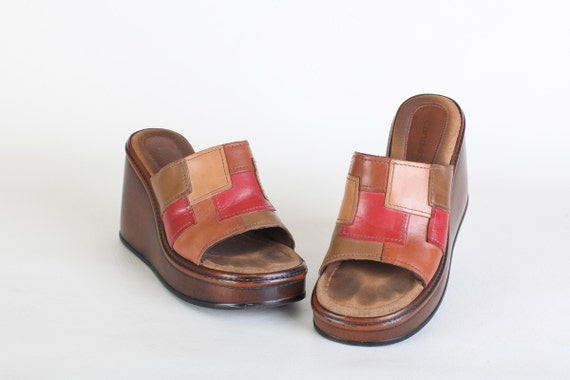 Size 7.5 Women's colorblock wedge shoes, open toe platform heel, chunky clogs