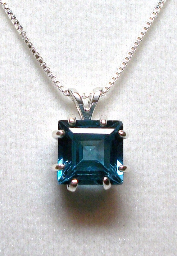"""London blue topaz pendant w/ 18"""" sterling silver chain, gifts for her, fine jewelry,         """"Deep Blue Sea"""""""