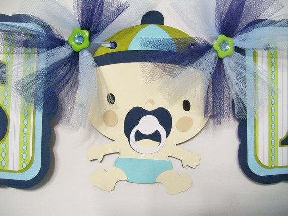 Baby shower with baby boy, blues, and greens, its a boy - READY TO SHIP