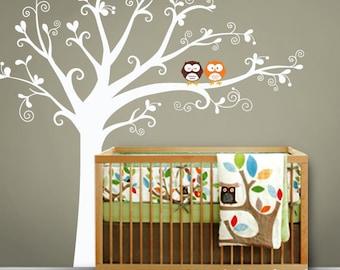 Owls & lovely tree - Nursery Wall Decal