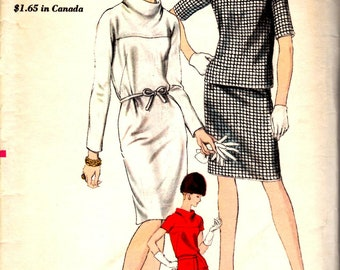 1960's Misses' Two-Piece or One Piece Dress  Vogue 6546  Size12  Bust 32