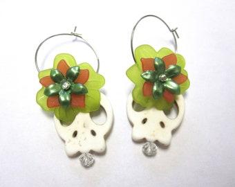 Sugar Skull Earrings Day Of The Dead Hoops White Green Peach