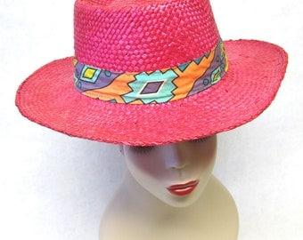 Hot Pink Straw Wide Brim Hat Western Cowgirl