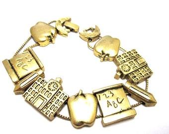 Teacher Bracelet Vintage 80's Gold School Slider Bracelet