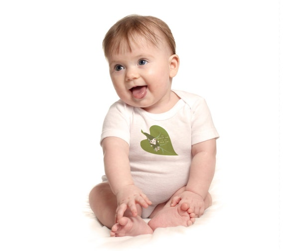 Organic gnome onesie, To Gnome Me Is To Love Me, green leaf, baby boy or girl