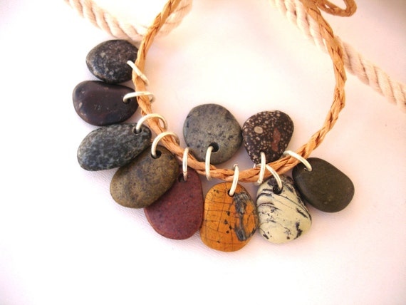 Beach Stone Pebble Beads  with Open Jump Rings - RAW MIX by StoneAlone - Beach Stone Jewelry Supplies, Natural Rock Beads