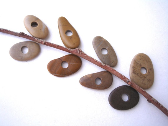 Beach Stone Toggle Beads - EARTHY MIX by StoneAlone - Natural Stone Beads, Cairn Stack Jewelry Supplies