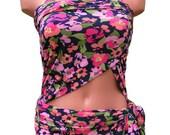 Medium Bathing Suit Wrap-around Swimsuit Summer Posies Womens Floral One Piece Swimwear