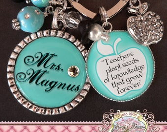 Teacher Gift Personalized Key Chain (or Necklace), Inspirational Quote, Thank You Gift, Teacher Appreciation, Rhinestone Apple Charm, School