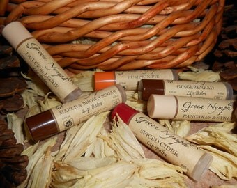 AUTUMN KITCHEN Lip Balm Collection by Green Nymph - One .15 oz Clear Tube with Color Cap - Choose from 30 Scents - YUMMY Fall Recipes