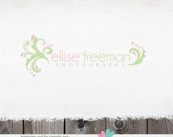 Premade Logo Design Owl Swirly Flourish Photography  Shop Design-NEVER RESOLD OOAK