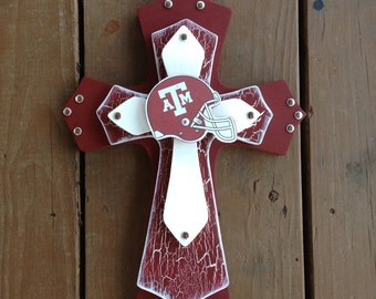 Texas A&M Aggie Theme Wood Cross