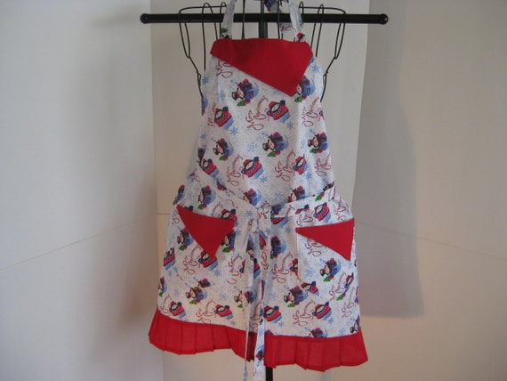 Snowman Christmas Apron White Red And Blue For Women.(Merry Christmas)
