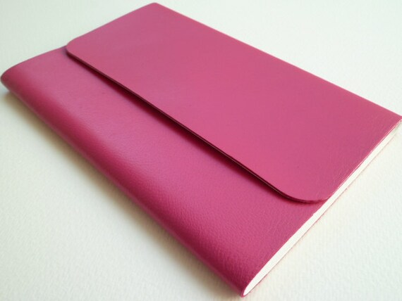 Leather Bound Notebook/Journal  Beautifully Soft Cerise Pink Handmade