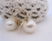 Earrings Pearl Dangle Classic White On Gold Hooks.