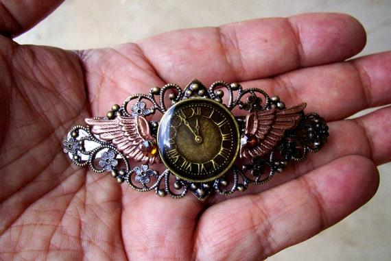Steampunk Hair Clip (HC27-2) - Large Barrette - Clockface / Aviation Design -  Wings and Swarovski Crystals - Antique Bronze