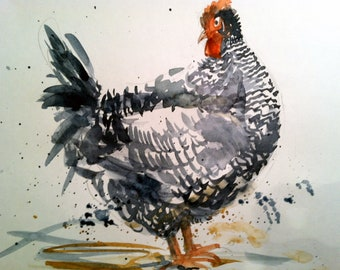 Five  brilliant Chicken cards, Prints of original watercolors, app. 5x7,