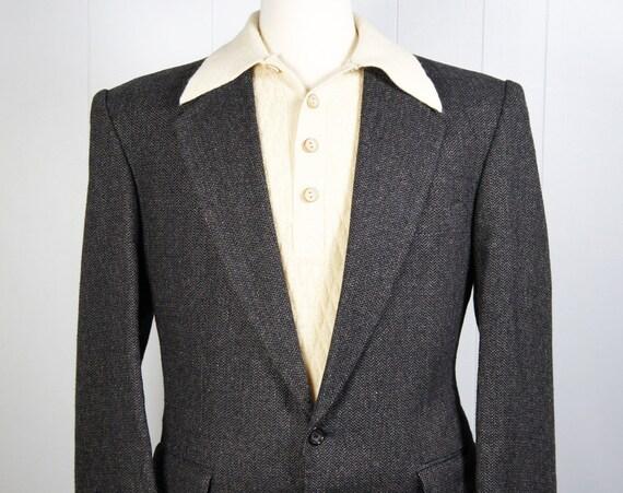 Vintage Men's 1980's Gray Tweed Blazer, Size M / L