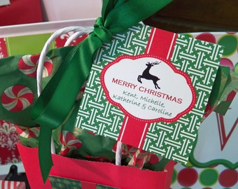 Personalized Christmas Gift Tags Printable or Printed with FREE SHIPPING - Reindeer Silhouette Rodeo Drive Collection