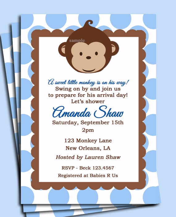 Baby Blue Monkey Invitation Printable or Printed with FREE SHIPPING - Monkey Birthday or Baby Shower Invite