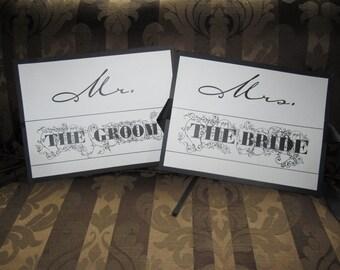 Bride and Groom Wedding Chair or Door Signs