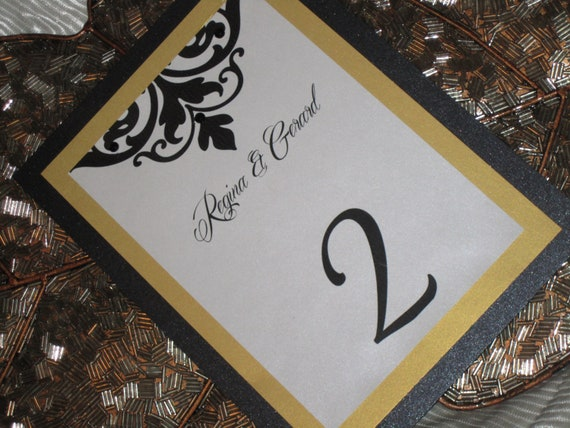 Damask Table Numbers - Wedding Table Number