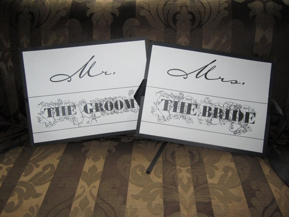 Bride and Groom Wedding Chair or Door Signs