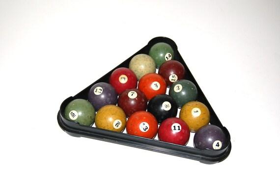 RESERVED FOR JOANN - Clay Billiard Balls, Vintage Pool Balls, All Solids, Pool Room Decor,  Parlor, Game Room, Billiard Room, Sports Decor