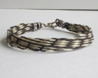Two-colored Flat Braided Horse Hair Bracelet with Sterling Silver Hardware