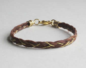 Three-strand Sorrel Braided Horse Hair Bracelet with Accent Thread