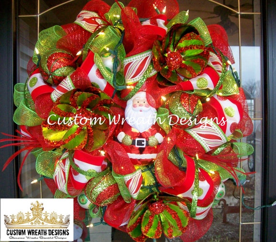 Christmas Santa Luxe Wreath with Lights