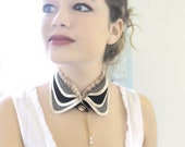 Plaid collar black and ivory peter pan collar turndown collar vintage style steampunk collar - MySecretFace