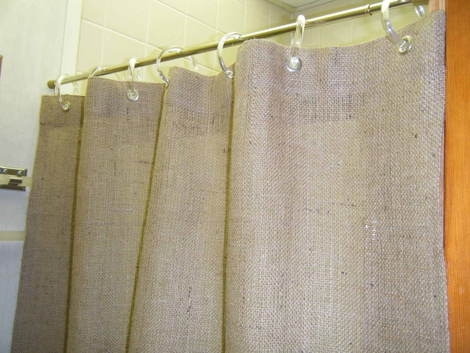 Burlap Door Shower STALL Curtain 37 WIDE X