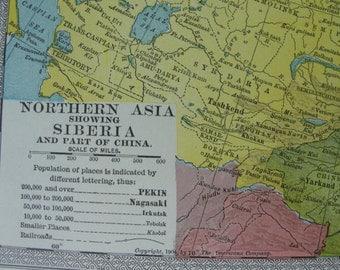 Map original vintage 1911 Northern Asia