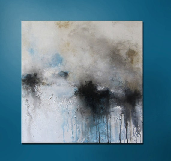 """20% OFF Now Through 11/30/12. Enter CODE20 at checkout.24"""" x 24"""" Blue, Gold, White, Black Abstract Painting"""