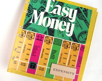 Blank Book Upcycled from Retro Easy Money Game Board, with Play Money Collage Inside, Fun GIft for Accountants, Brokers